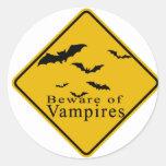 Beware of  Vampires Classic Round Sticker