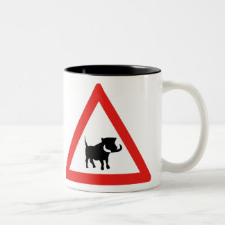 Beware of Warthogs, Traffic Sign, South Africa Two-Tone Coffee Mug