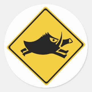 Beware of Wild Boars, Traffic Sign, Japan Classic Round Sticker