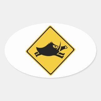 Beware of Wild Boars, Traffic Sign, Japan Oval Sticker