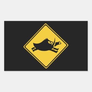 Beware of Wild Boars, Traffic Sign, Japan Rectangular Sticker