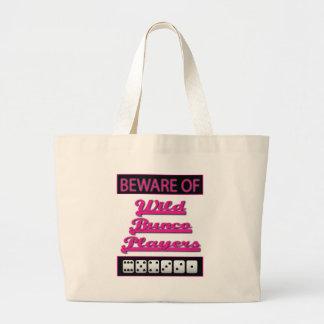 beware of wild bunco players large tote bag