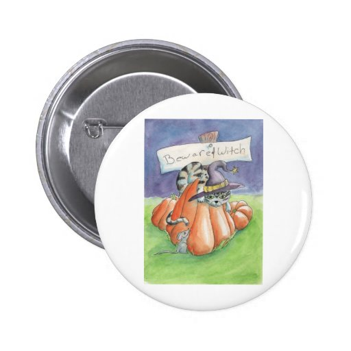 Beware Of Witch Cat Pinback Button