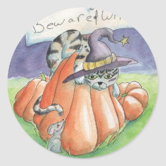 Beware Of Witch Cat Classic Round Sticker
