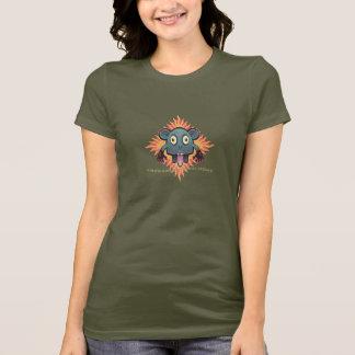 """Beware Of Yajuu"" Ladies Army Green T-Shirt"