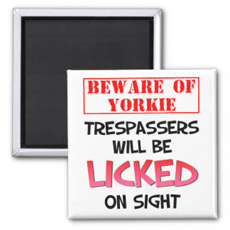 Beware of Yorkie (White) 2 Inch Square Magnet