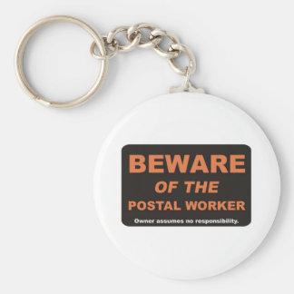 Beware / Postal Worker Basic Round Button Keychain
