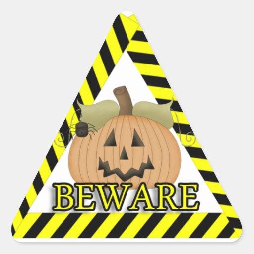 Beware Pumpkin Spider Triangle Stickers