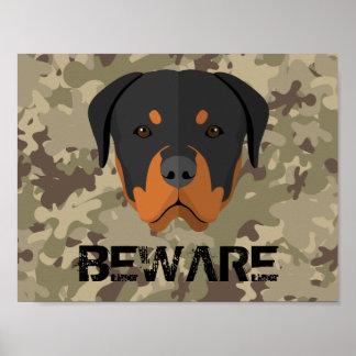 Beware Rottweiler Poster