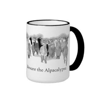 Beware the Alpacalypse - Funny Nerd Corny Humor Ringer Coffee Mug
