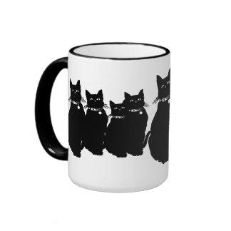 Beware the Black Cat Ringer Coffee Mug