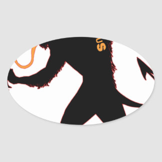 Beware the Christmas Krampus Oval Sticker