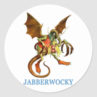 BEWARE THE DREADED JABBERWOCKY CLASSIC ROUND STICKER