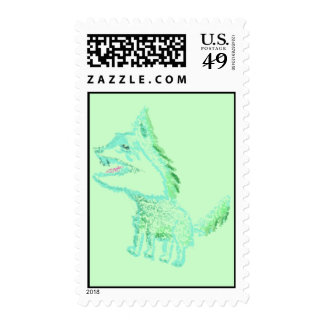 Beware the green wolve! stamp