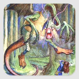 Beware the Jabberwock, My Son. The Jaws That Bite Square Sticker