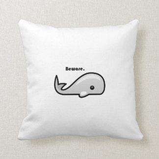 Beware the White Whale Cartoon Throw Pillow