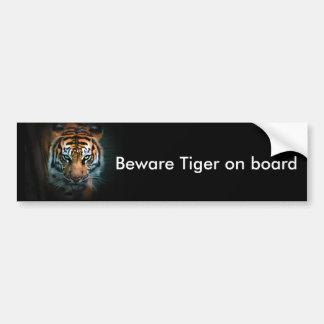 Beware Tiger on board Bumper Sticker