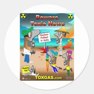 Beware Toxic News Classic Round Sticker