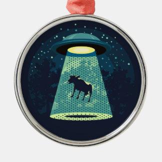 Beware UFO Metal Ornament