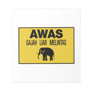 Beware Wild Elephant, Traffic Sign, Malaysia Notepad