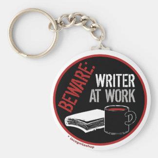 Beware: Writer at Work Basic Round Button Keychain