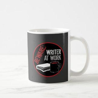 Beware: Writer at Work Classic White Coffee Mug