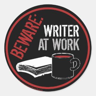 Beware Writer at Work Stickers