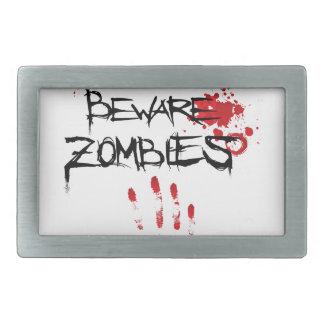 Beware Zombies Rectangular Belt Buckle