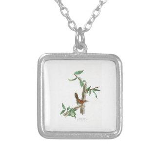 Bewick's Wren John James Audubon Birds of America Square Pendant Necklace