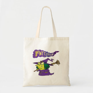 bewitched silly cartoon witch budget tote bag