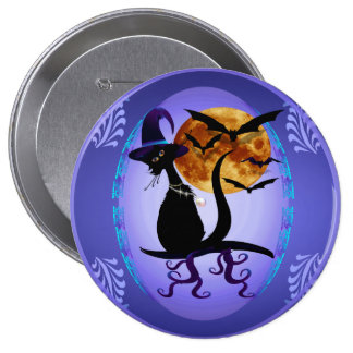 Bewitching Black Kitty 4 Inch Round Button