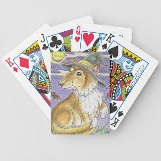 Bewitching Collie Dog Halloween Witch Cards Poker Deck