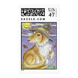 Bewitching Collie Dog Halloween Witch Postage