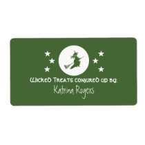 Bewitching Halloween Baking Labels, Green Shipping Label