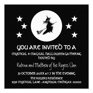 Bewitching Halloween Party Invite, Black and White