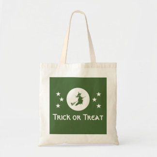 Bewitching Halloween Trick or Treat Bag, Green Budget Tote Bag
