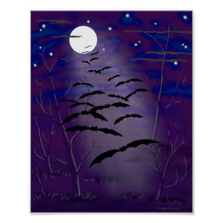 Bewitching Hour with Full White Moon and Bats Poster