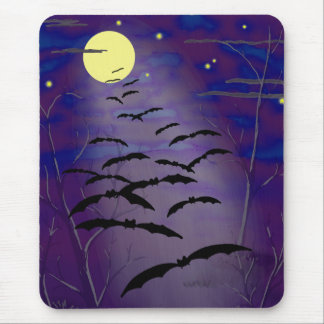 Bewitching Hour with Full Yellow Moon and Bats Mouse Pad