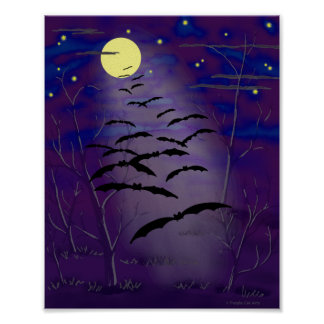 Bewitching Hour with Full Yellow Moon and Bats Poster