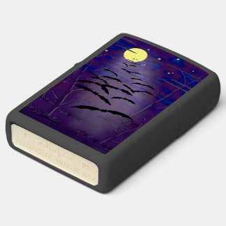 Bewitching Hour with Full Yellow Moon and Bats Zippo Lighter