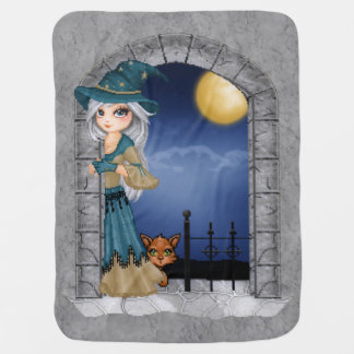 Bewitching Witch Castle Window Pixel Art Receiving Blankets