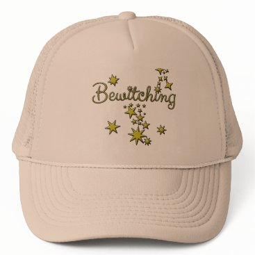 Halloween Themed Bewitching with Gold Stars Trucker Hat