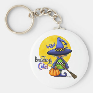 Bewitchingly Cute Witch Basic Round Button Keychain