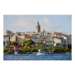 Beyoglu District and Galata Tower in Istanbul Poster
