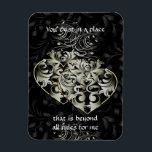 """Beyond Rules Black Heart 3&quot;x4&quot; Magnet<br><div class=""""desc"""">JZB loves Mac</div>"""