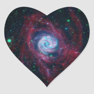 Beyond the Border of a Galaxy Heart Sticker