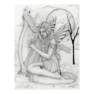 Beyond Time - fairy with harp Postcard