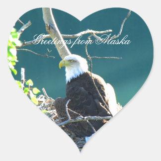 BEYR Bald Eagle Yukon River Heart Sticker