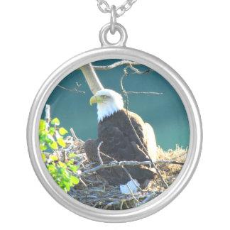 BEYR Bald Eagle Yukon River Round Pendant Necklace