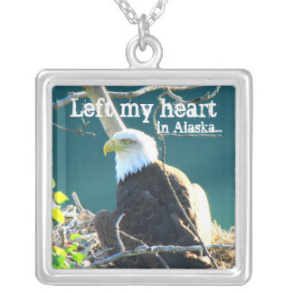 BEYR Bald Eagle Yukon River Square Pendant Necklace